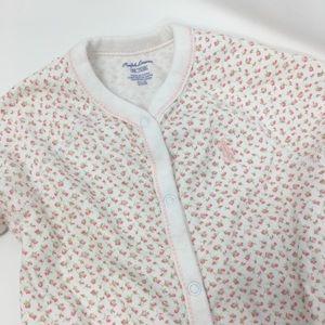 Ralph Lauren Floral Button Footed Baby Onesie 9m